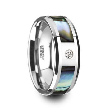 HONOLULU Mother of Pearl Inlay Tungsten Carbide Ring Beveled Edges