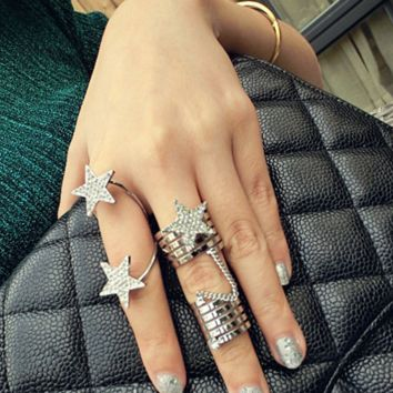 Personality multi - layer spiral conjoined full - engraved five - pointed star chain ring 2 sets