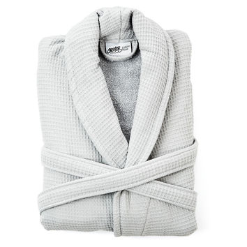 Luxury Waffle Terry Robe,  Silver, Shower Wraps