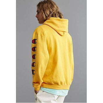 Champion Joint sugarcoat cannonball long sleeve multi-label printed hoodie Yellow