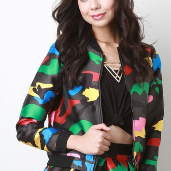 Colorful Camouflage Bomber Jacket