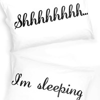 Jac Vanek - Shhh...I'm Sleeping Pillowcase - White