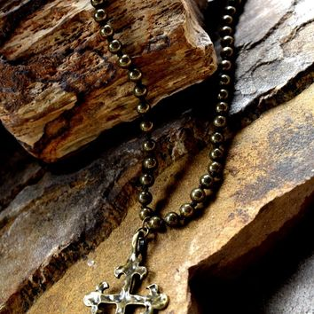 Tarnished Gold Cross Necklace