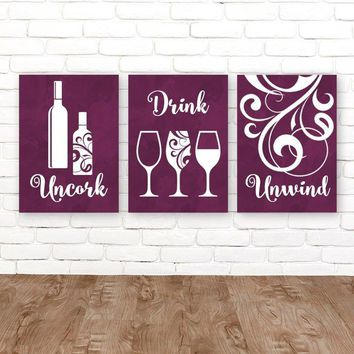 WINE WALL ART, Wine Bar Decor, Wine Canvas or Prints, Wine Quote Pictures, Kitchen Wall Decor, Uncork Drink Unwind Wine Artwork Set of 3