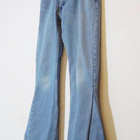 Levi Bell Bottom Jeans, Mens Bell Bottoms, Peace Sign Patch, Secret Pocket, 33 Waist, Hippie Upcycled Clothes, Bohemian, 70s, Frayed, 505