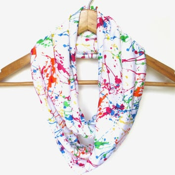 Rainbow Paint Splatter Infinity Scarf, Multicolored Scarf, Summer Scarf, Bright Colors, Paint Splatter, Rainbow Scarf, Rainbow Colors