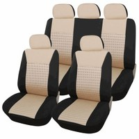 Adeco 9-Piece Car Vehicle Protective Seat Covers, Universal Fit, Black/Gray and Beige Mesh