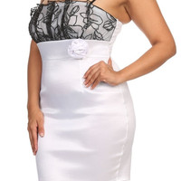 Lace Bust Taffeta Bodycon Dress - White - Plus Size