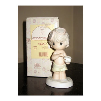 Precious Moments There Is No Greater Treasure Than A Friend Like You Porcelain Figurine Enesco Retired MIB Boy on Beach Seashell