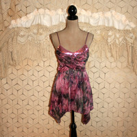Sequin Party Top Spaghetti Strap Club Top Sexy Boho Top Mauve Gray Abstract Watercolor Sparkly Handkerchief Hankie Small Womens Clothing