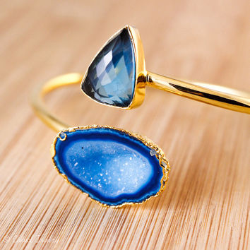 London Blue Quartz And Cobalt Blue Druzy Bangle - Dual Gemstone Bangle - Fall Accessories