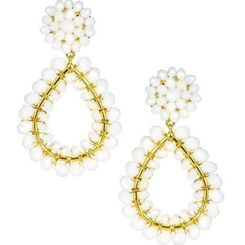 Margo Earrings in Czech White