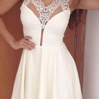 V Neck Sleeveless Lace Pleated A-Line Mini Dress