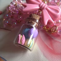 Pastel Macarons Glass Jar Bow Necklace