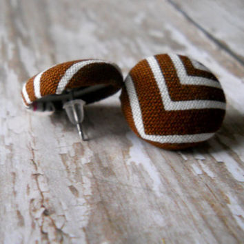 Dark Brown/Chocolate Chevron Striped  Fabric Covered by JeJeweled
