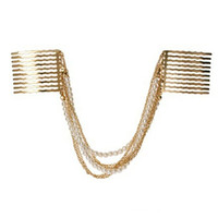 Gold Faux Pearl and Chain Draped Hair Comb