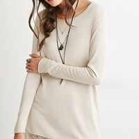 Eyelash Lace-Trimmed Sweater