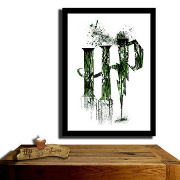 Harry Potter Poster, Slytherin House....Paint effect poster