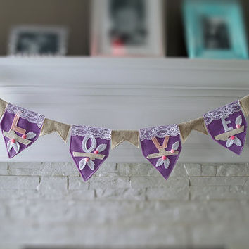 Girl Nursery Bunting, Baby Girl Nursery Decor, Lace Banner, Baby Shower Garland, Owl Banner, Cake Smash Photo Prop, Baby Owl, Love Bunting