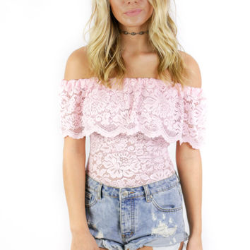 Little Italy Pink Off The Shoulder Lace Bodysuit
