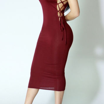 Latte Midi Dress Wine