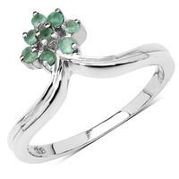 0.10 Carat Genuine Emerald .925 Sterling Silver Ring