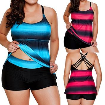 Plus Size Gradient Tankini Swimsuit