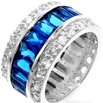 Kinsley Radiant Sapphire Eternity Cocktail Ring | 11ct | Cubic Zirconia