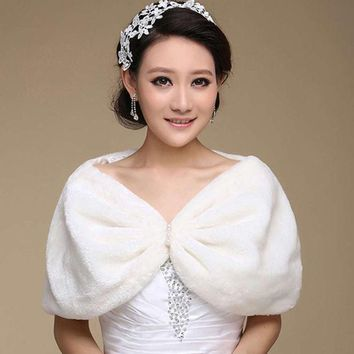 Best Deal New Fashion Elegant Faux Fur Wrap Shrug Bolero Shawl Cape Bridal Wedding Jacket Ivory Plush Pashmina Gift 1pc