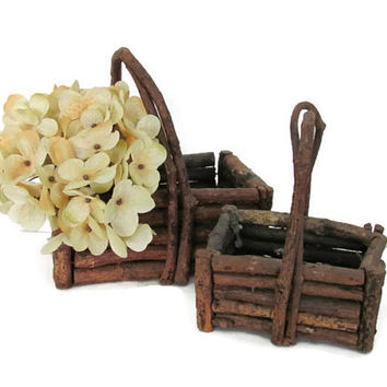 Vintage Twig Baskets, Rustic Stick Basket, Twig Planter, Primitive Baskets, Cabin, Rustic Decor, Wedding Basket