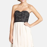 Junior Women's Sequin Hearts Lace Bodice Skater Dress