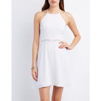 Crochet-Inset Bib Neck Skater Dress