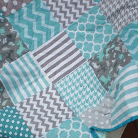 Baby quilt,grey,teal,aqua,Patchwork crib quilt,baby boy bedding,baby girl quilt,woodland,rustic,chevron,deer,bear,toddler,modern,Silhouette