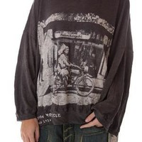 Magnolia Pearl Top 653-Ozzy - Cotton Jersey Oversized Hi Lo Indian Moto Francis Pullover w Distressing and Fading