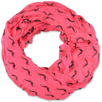 D&Y Mustache Print Pink Infinity Scarf at Zumiez : PDP