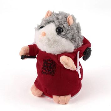 Lovely Cute Interactive Funny Talking Music DJ Hamster Plush Toy Speak Talking Sound Record Hamster Animal Educational Toy