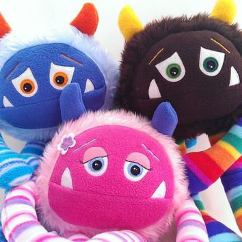 Custom Plush stuffed monster toy. CREATE your own stuffed toy: and adopt your own cuddly monster with adoption scroll