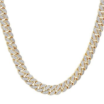 "Men's 12mm Closed Miami Cuban Links Iced Out 18-30"" Chain"