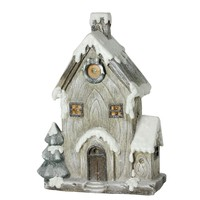 """30"""" LED Lighted Battery Operated Rustic Glittered House Christmas Decoration"""