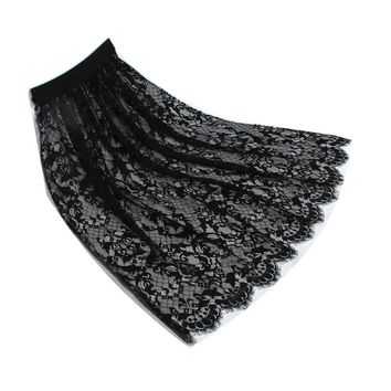 Spring and summer hollow out gauze lace trasparant half slip all match basic long underskirt white black