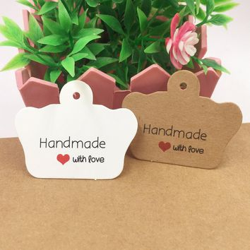 200pcs/lot  Kraft paper price tags DIY handmade with love gift tags crown shaped packing labels for gift boxes/note price tag