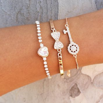 Hearts & Key Bracelet Stack