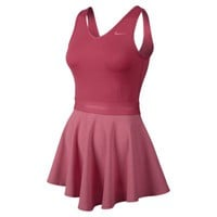 Nike Heathered V-Neck Women's Tennis Dress - Fusion Red