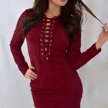 Burgundy Laceup Bodycon
