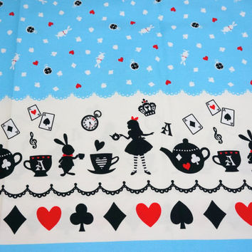 "Alice in Wonderland Fabric Half  meter 50 cm x 108 cm or 19.6 "" by 42"""