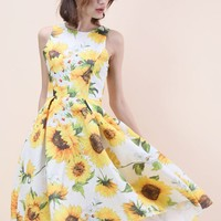 Sprightly Sunflower Jacquard Waterfall Dress