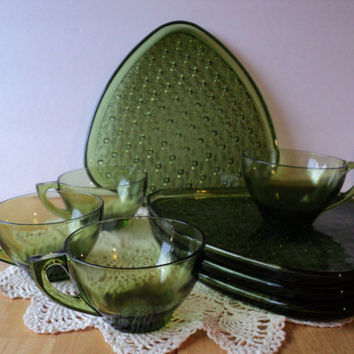 Green Glass 1960s Luncheon Set Lancaster Daisy and Button Pattern Olive Green Retro Design Atomic Style Dining Service Mid Century Snack Set