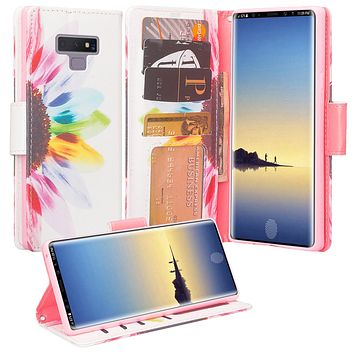Samsung Galaxy Note 9 Case, SM-N960U Wallet Case, Wrist Strap Pu Leather Wallet Case [Kickstand] with ID & Credit Card Slots - Vivid Sunflower