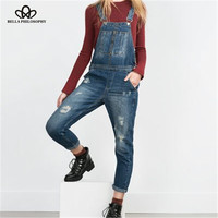 Bella Philosophy 2016 spring new washed Denim holes Womens boyfriend jeans suspender Overalls pants trousers