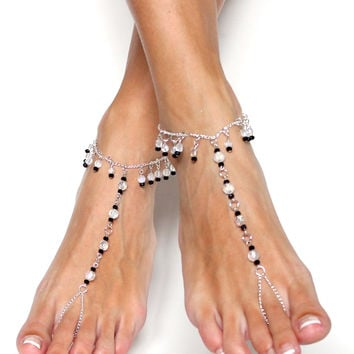Black and White Classic Barefoot Sandals